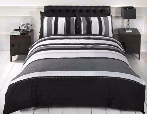 Grey / Black Detroit Stripe Lines Double Duvet Set, Stripped, from Rapport